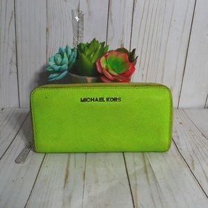 Michael Kors Lime Saffiano Leather Wallet